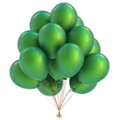 Green balloons birthday party decoration. Happy holiday celebration balloon bunch classic. 3d illustration isolated
