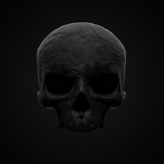 Black stone skull on a black isolated background. 3D rendering