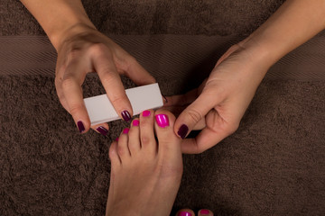 Nail polishing in spa salon