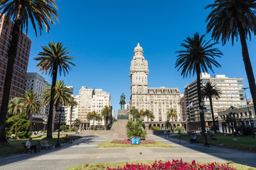 Palacio Salvo in the center of the city of Montevideo, Uruguay.