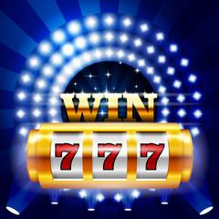 Jackpot - 777 on casino slot machine, big win and gambling concept