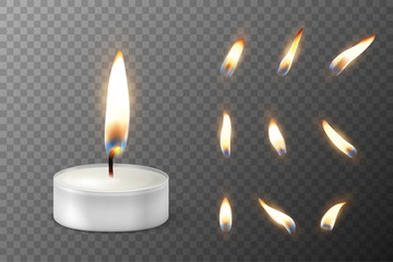 Vector 3d burning realistic candle light or tea light and different flame of a candle icon set closeup isolated on transparency grid background. Tea candle or candle in a case. Design template