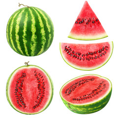 Isolated watermelons. Collection of whole and cut watermelon fruits isolated on white background with clipping path