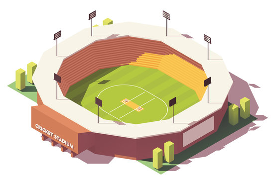 Vector isometric low poly cricket stadium