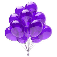 Purple balloon bunch, birthday party decoration blue, glossy helium balloons violet translucent. Holiday anniversary celebrate invitation greeting card design element. 3d illustration