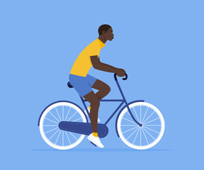 The African guy is riding a bicycle. Rest and vacation. Healthy lifestyle. Vector flat illustration