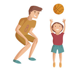Father and child basketball vector cartoon illustration