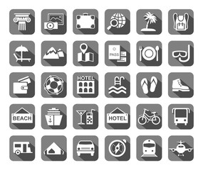 Travel, vacation, tourism, leisure, monochrome icons, flat, grey, vector. Different types of recreation and ways to travel. White pictures on a gray background with shadow. Vector.