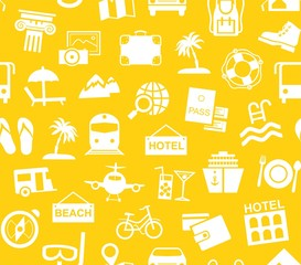 Travel, vacation, tourism, vacation, seamless pattern, monochrome, yellow, vector. Different types of recreation and ways to travel. White pictures on the yellow field.Vector, monochrome background