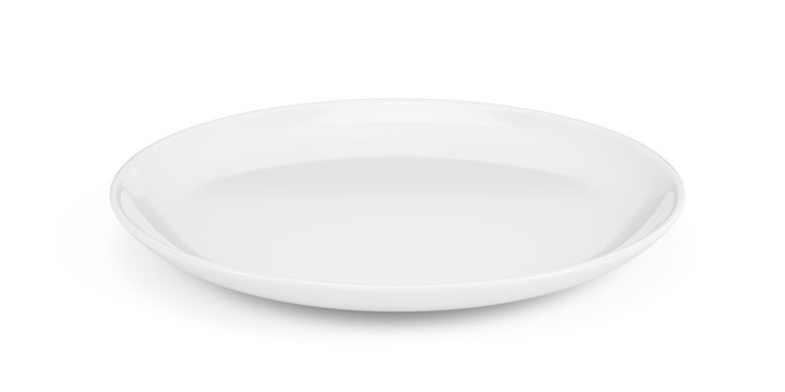 Empty white plate isolated on white - 3d rendering