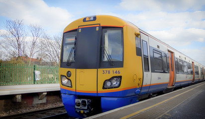 London; 16th of March 2015: A view of a overground Train stopped at the Clapham High Street tube overground station platform