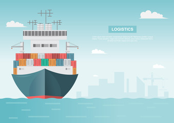 Sea transportation logistic. Sea Freight. Cargo ship, container shipping on flat style
