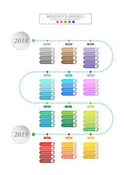 Modern business horizontal timeline process chart infographics template. Vector banner for presentation and workflow layout diagram, web design. Abstract elements of graphic monthly and weekly plan.