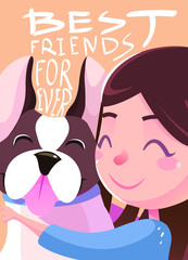 Best Friends Forever illustration. Friendship concept. Banner, background, flyer, placard, in cartoon style with cute dog and girl. Poster, Vector card for greeting, decoration, congratulation.