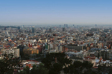 View of the city from a viewpoint, Barcelona, Spain