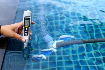 Resort Private pool has weekly check maintenance test, Salt Meter Level