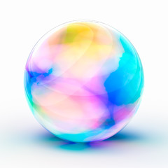カラフルなガラス玉のCG