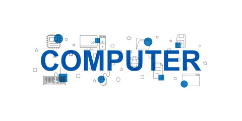 Computer vector banner. Word with line icon. Vector background