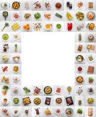 Collage of various food and ingredient. Assotment vegetable fruit meat fish coffee sweet and fat...