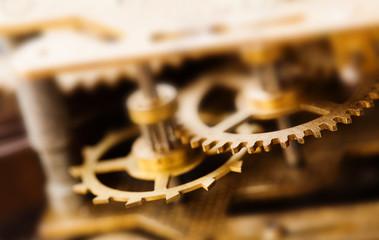 Vintage cog wheel gear teeth macro view. Shallow depth field, selective focus.