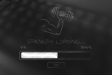 strength loading arm holding dumbbell and progress bar below