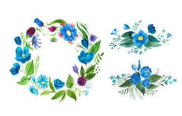 Watercolor floral wreath made of blue wild flowers isolated on white background