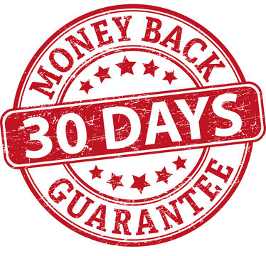 30 days money back guarantee round textured rubber stamp
