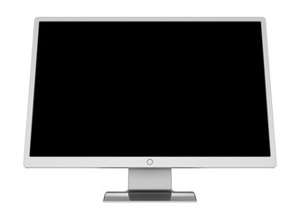 Monitor computer flat presentation screen wide black blank desktop LCD TV display. 3d illustration isolated on white background
