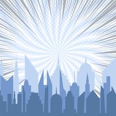 Bright comic city silhouette template