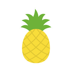 Pineapple tropical sweet summer fruit, vector graphic icon. Yellow pineapple with green leaves.