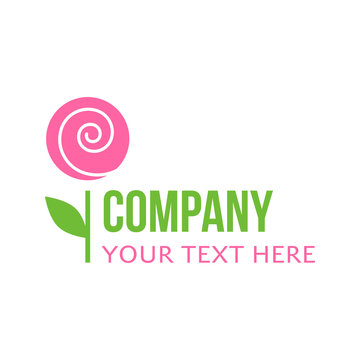 Florist, flower, garden shop or company vector logo template. Pink flower with green stem and leaf with writing.