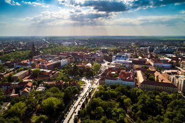 Photo sur Toile Vue aerienne Aerial view in a beautifu cloudy summer day above Timisoara's historical center, Romania taken by a professional drone