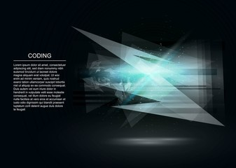 Big data abstract background. Technology visualization. Abstract explosion decoration.