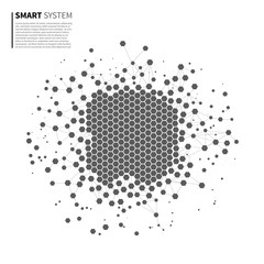 Big data analysis. From chaos to order. Artificial intelligence. Smart software. Polygonal, Coding, Geometric, System.