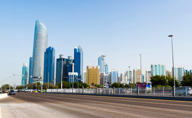 Panoramic view of Abu Dhabi from the Corniche road at day time
