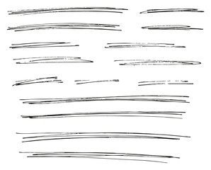 Pen Strokes Thin Line & Background Set 09