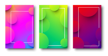 Three colorful backgrounds with abstract pattern.