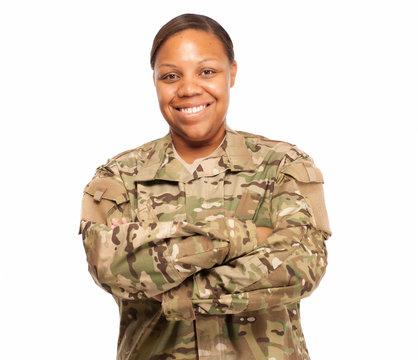 Happy female soldier in multicam uniform.