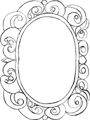 Outline drawing decorative frame with swirls