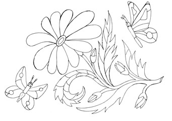 Outline drawing of a flowers and butterflies  for coloring