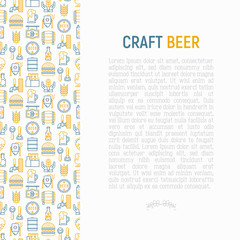 Craft beer concept with thin line icons related to Octoberfest: beer pack, hop, wheat, bottle opener, manufacturing, brewing, tulip glass, mag with foam. Modern vector illustration for print media.