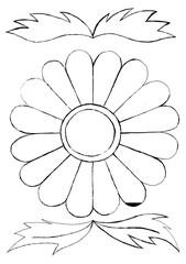 Decorative countour flower for coloring