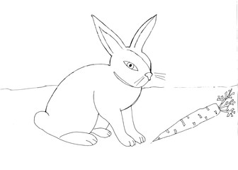 Outline drawing of a hare with a carrot