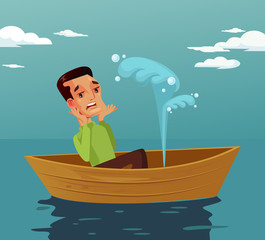 Frightened face expression man character sitting in broken boat. Accident disaster. Vector flat graphic design cartoon isolated illustration