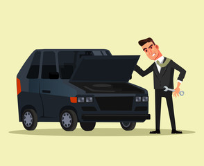 Angry businessman office worker character trying to fix broken car. Vector flat graphic design cartoon isolated illustration