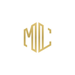 Initial letter ML, minimalist line art hexagon shape logo, gold color