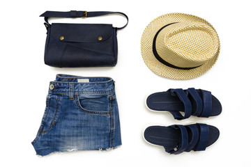 Summer street style. Fashion summer girl clothes set, accessories. top view. flat lay
