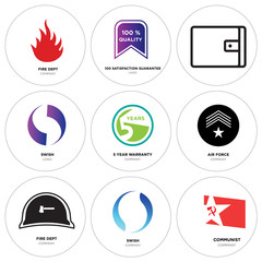 Set Of 9 simple editable icons such as communist, swish, fire dept