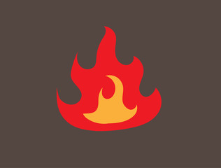 Fire trendy flat style isolated on blown background. Vector illustration.
