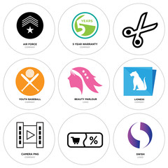 Set Of 9 simple editable icons such as Gradient Purple swish, Shopping, camera